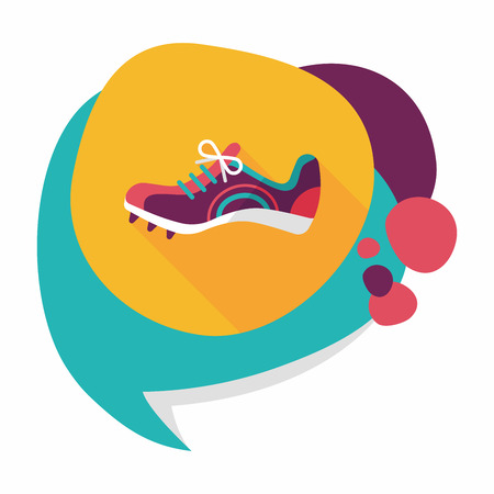 running shoe: sneaker flat icon with long shadow