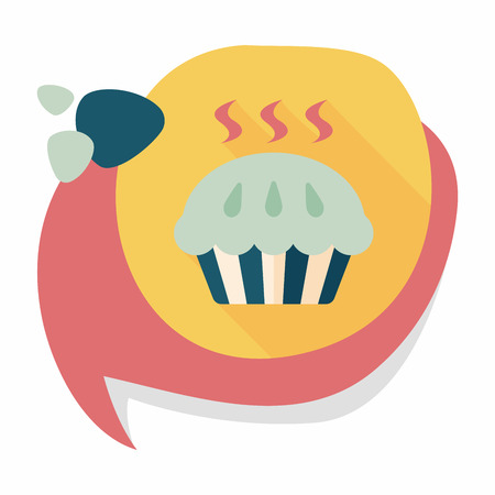 snack time: pie flat icon with long shadow