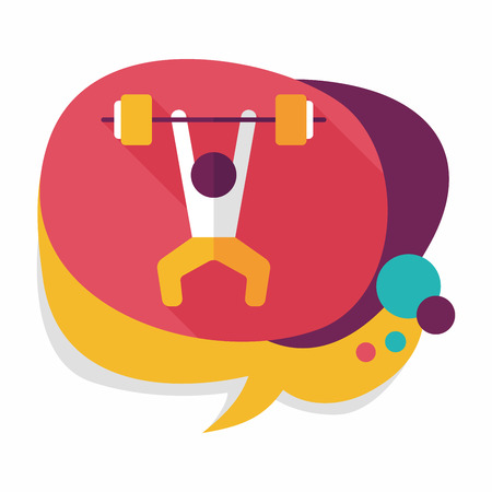 lifter: weightlifting flat icon with long shadow, Illustration