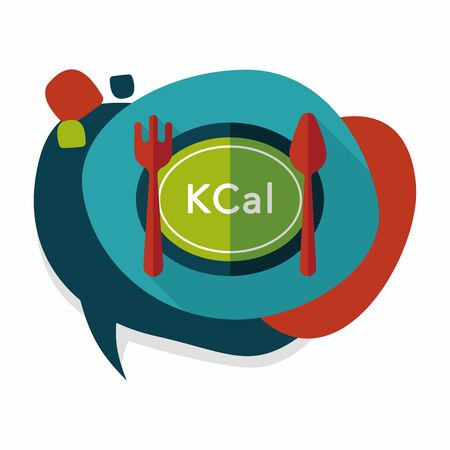 calories: calories diet flat icon with long shadow,