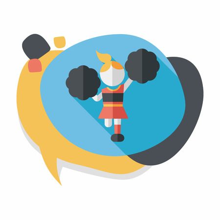 woman arms outstretched: cheerleader flat icon with long shadow,