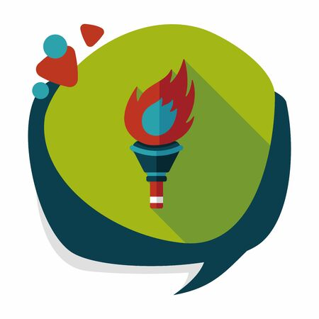 flaming torch: flaming torch flat icon with long shadow,