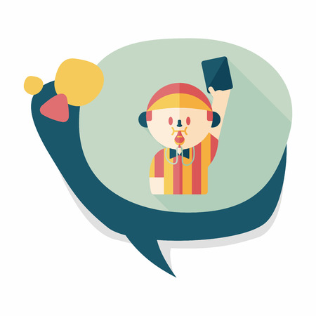 soccer referee: soccer referee flat icon with long shadow