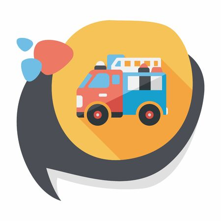 Transportation Fire truck flat icon with long shadow Vector