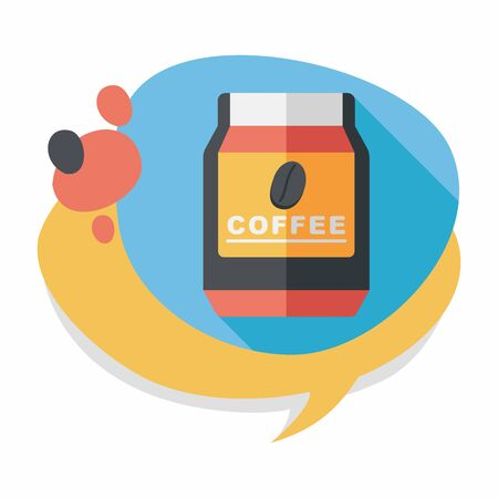 glass canned coffee flat icon with long shadow