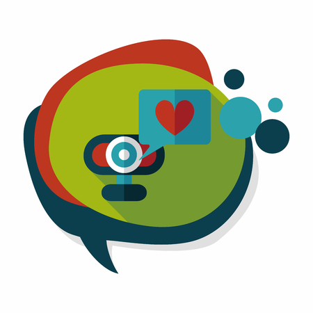 making a face: Valentines Day webcame love message flat icon with long shadow