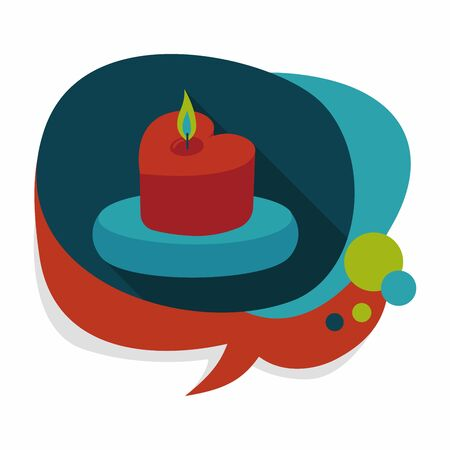 lighted: Valentines Day candle flat icon with long shadow Illustration