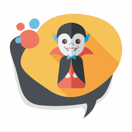 grotesque: Vampire flat icon with long shadow