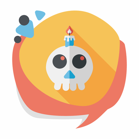 haunting: skeleton flat icon with long shadow