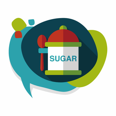 sweetener: kitchenware sugar flat icon with long shadow