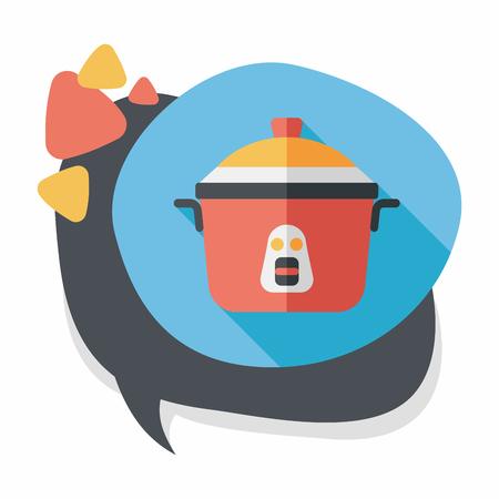 rice cooker: icono plana de cocina olla de arroz con una larga sombra, eps10