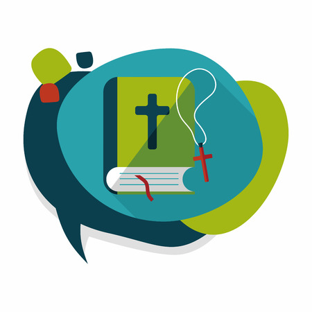 bible: bible flat icon with long shadow Illustration