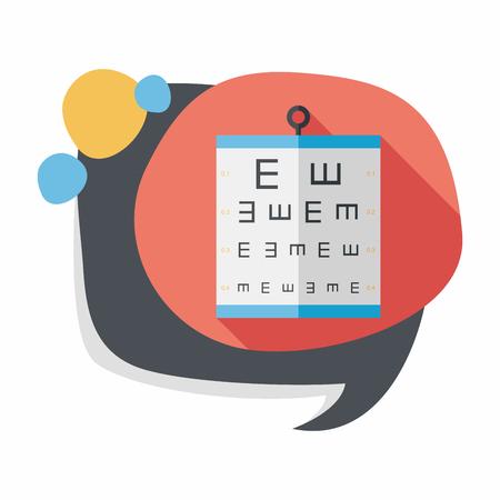 eye test: eye test chart flat icon with long shadow,eps10