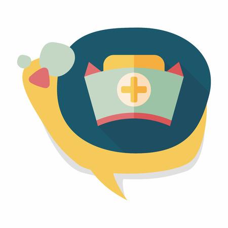 enfermera con cofia: icono plana sombrero de enfermera con larga sombra