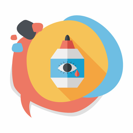 moist: Eye Drop flat icon with long shadow Illustration