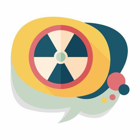 uranium: Radiation flat icon with long shadow Illustration
