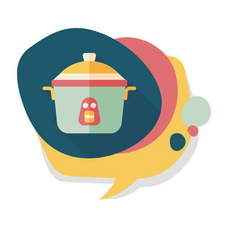 rice cooker: kitchenware rice cooker flat icon with long shadow