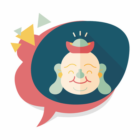 monasticism: Chinese New Year flat icon with long shadow, Maitreya means Bless you have wealth, monasticism and popularity. Illustration