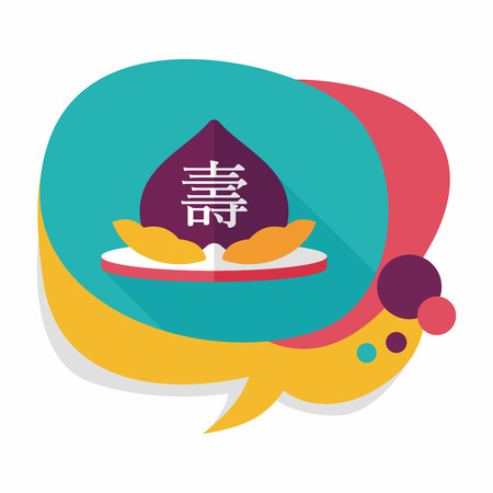 Chinese New Year peaches of immortality flat icon with long shadow,eps10, Peaches of immortality is a kind of bread and it means who ate the peach can live forever.