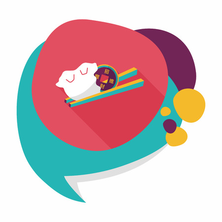 where to eat: Chinese New Year flat icon with long shadow,eps10, Coin wrapped in dumplings where people eat throughout the year will be very lucky and get rich.