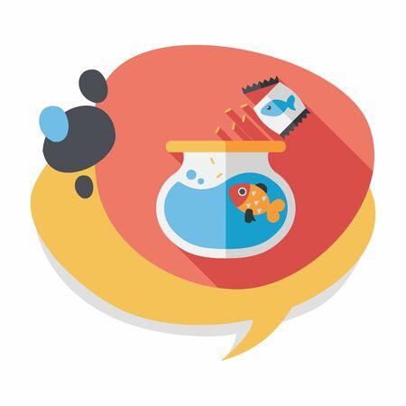 pet fish: Pet pesci icona piatto con una lunga ombra, eps10