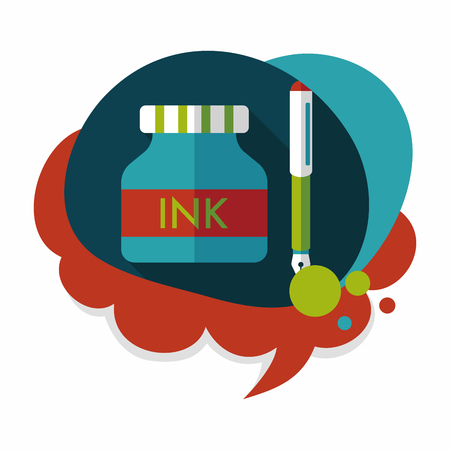 ink bottle: pen and  ink bottle flat icon with long shadow,eps10