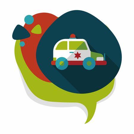 politieauto: Vervoer politieauto vlakke icoon met lange schaduw, eps10 Stock Illustratie