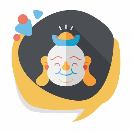 maitreya: Chinese New Year flat icon with long shadow,eps10, Maitreya means Bless you have wealth, monasticism and popularity.