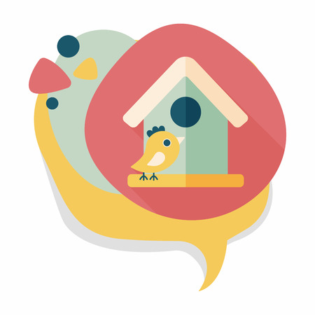 Pet bird house flat icon with long shadow,eps10 Vector