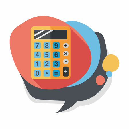 Accountant: calculator flat icon with long shadow,eps10