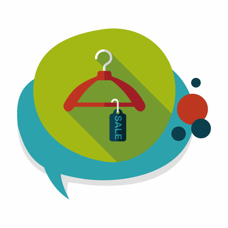 clothes hanger: shopping clothes hanger flat icon with long shadow,eps10