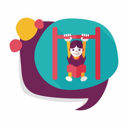 rekstok: Jongen opknoping horizontale balk plat icoon met lange schaduw, eps10
