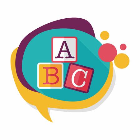 wood block: ABC blocks flat icon with long shadow,eps10