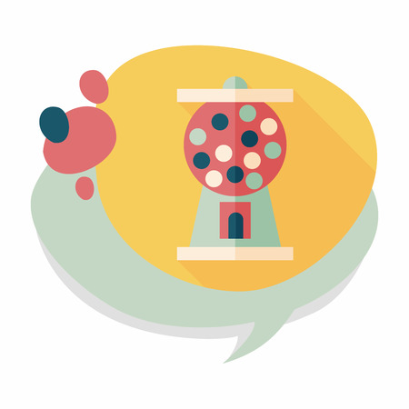 Gum ball Machine flat icon with long shadow,eps10 Vector