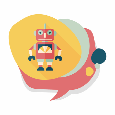 vintage robot flat icon with long shadow; eps 10 Illustration
