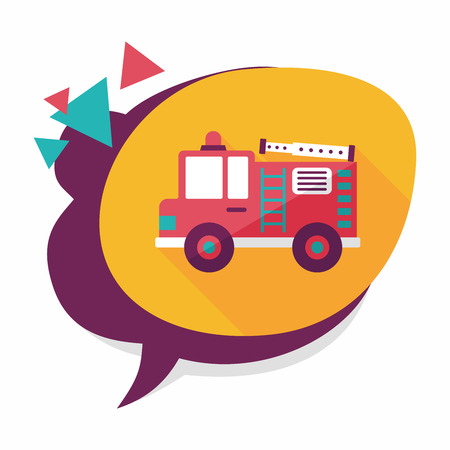 Transportation Fire truck flat icon with long shadow,eps10 Vector