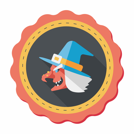 bewitch: witch hat flat icon with long shadow,eps10