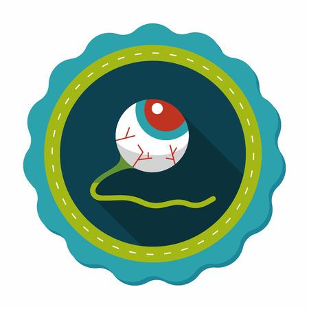 halloween eyeball: Halloween eyeball flat icon with long shadow,eps10