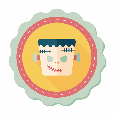 Frankenstein flat icon with long shadow,eps10 Vector