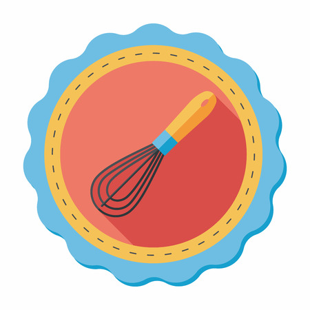 wire whisk: kitchenware beater flat icon with long shadow,eps10
