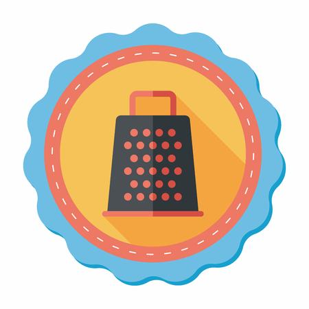 reibe: K�chenreibe Flach Symbol mit langen Schatten, eps10