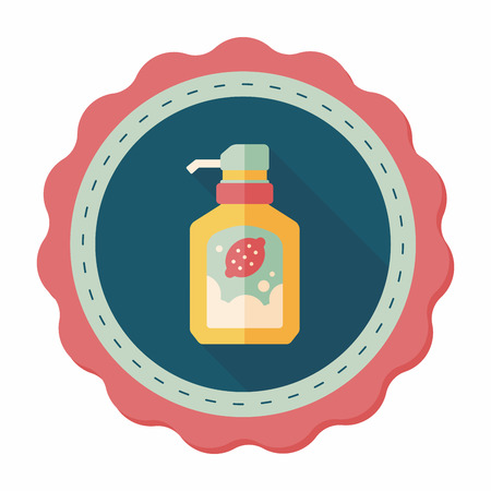 sanitize: kitchenware dish soap flat icon with long shadow,eps10 Illustration
