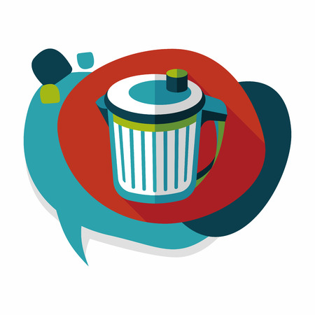 wastepaper basket: kitchenware garbage can flat icon with long shadow,eps10