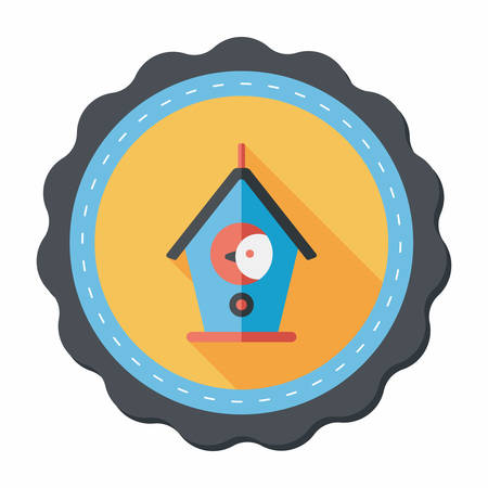 bird house: Pet bird house flat icon with long shadow,eps10 Illustration