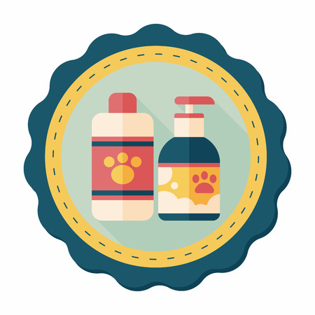 hair wash: Pet shampoo flat icon with long shadow,eps10