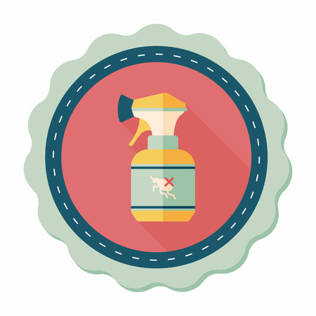 insecticide: Pet flea spray flat icon with long shadow,eps10