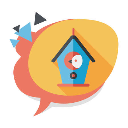 habitats: Pet bird house flat icon with long shadow Illustration