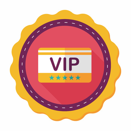 shopping vip card flat icon with long shadow,eps10 向量圖像