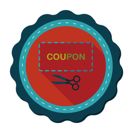 cutoff: shopping sale coupon flat icon with long shadow,eps10