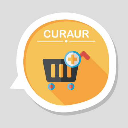 shoppingcart: shopping cart flat icon with long shadow,eps10